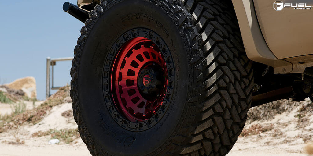 "20"" Fuel Wheels D632 Zephyr Candy Red with Matte Black Ring Off-Road Rims"
