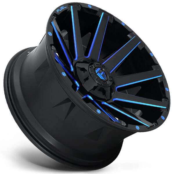 """22"""" Fuel Wheels D644 Contra Gloss Black with Blue Milled ..."""