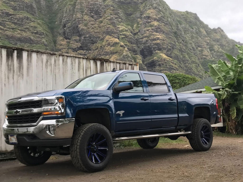 """20"""" Fuel Wheels D644 Contra Gloss Black with Blue Milled Off-Road Rims"""