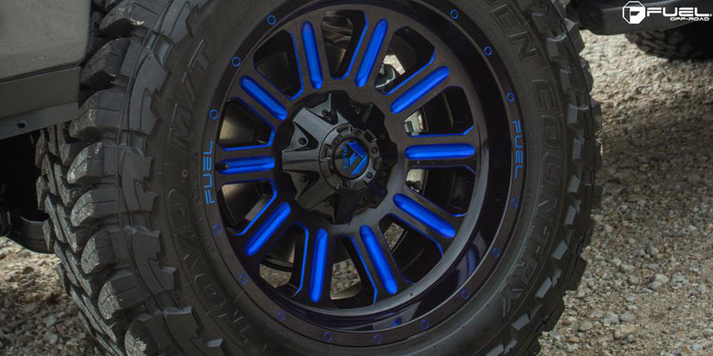 22 Quot Fuel Wheels D646 Hardline Gloss Black With Candy Blue