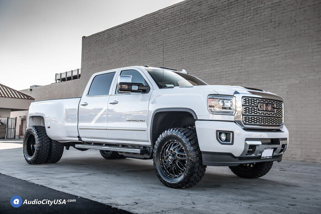"""20"""" fuel wheels d581 triton dually gloss black milled off"""