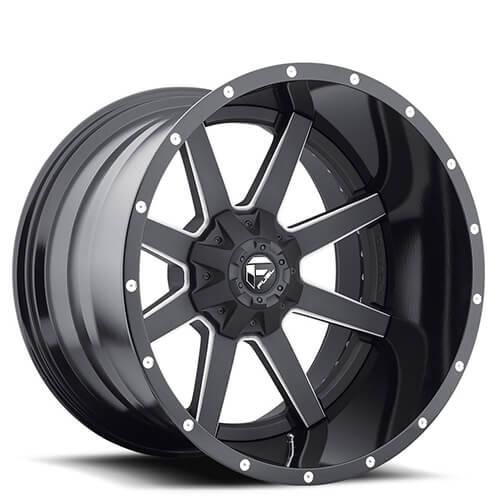 """22"""" Fuel Wheels D262 Maverick Black Two Piece Rims"""