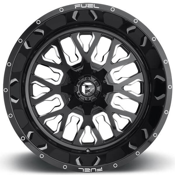 20 Quot Fuel Wheels D611 Stroke Gloss Black Milled Rims Fl090 3