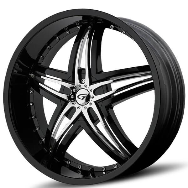 """24"""" Diablo-Gianna Wheels Blitz Black with Chrome Inserts Rims"""