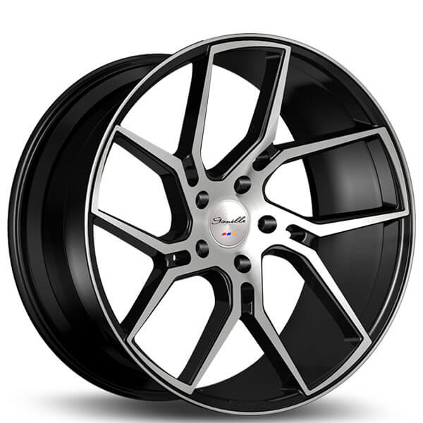 """20"""" Staggered Gianelle Wheels Dilijan Gloss Black Machined Rims"""