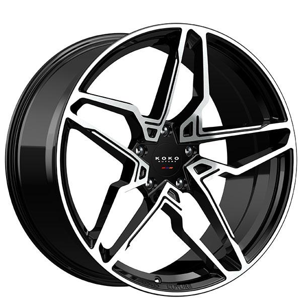 "22"" Koko Kuture Wheels Braga Gloss Black with Machined Face Rims"