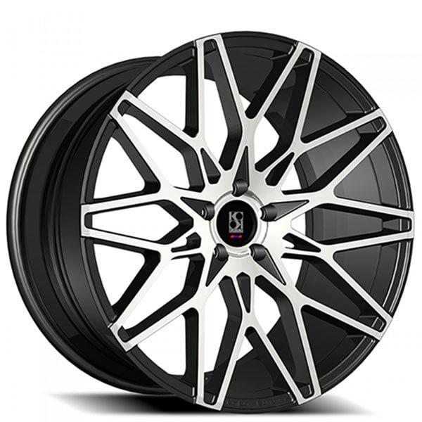 """22"""" Staggered Koko Kuture Wheels Funen Black Machined Rims"""