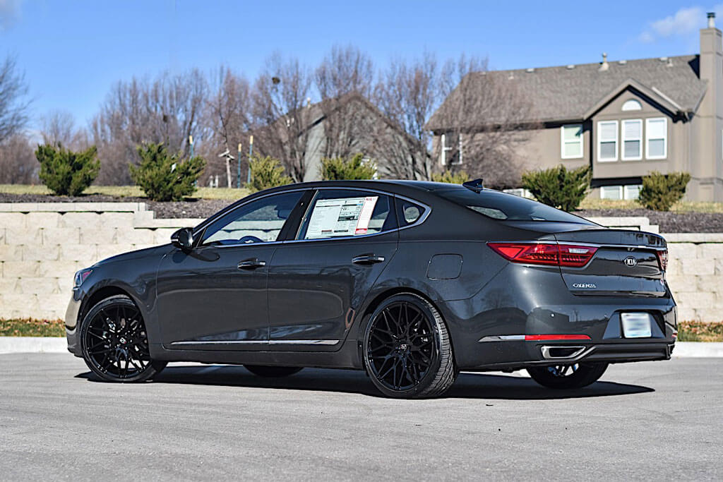 "20"" Staggered Koko Kuture Wheels Funen Black Rims"