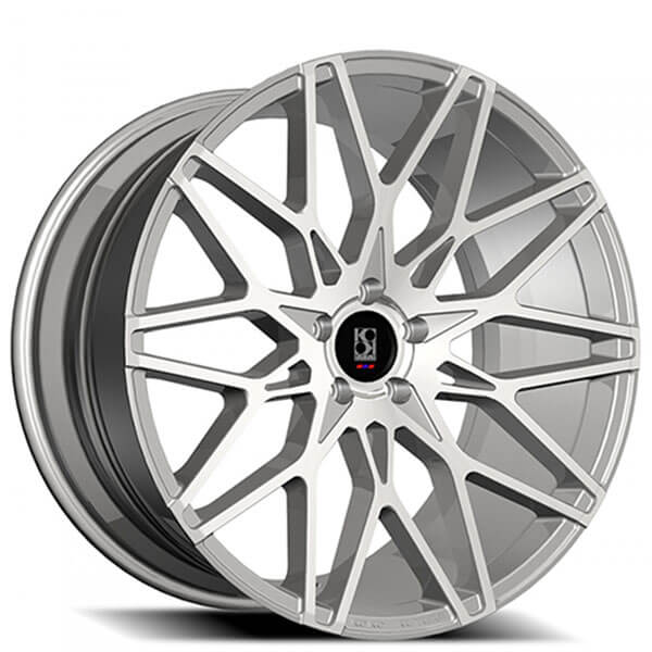 "22"" Staggered Koko Kuture Wheels Funen Silver Machined Rims"