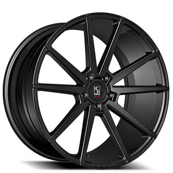 "20"" Staggered Koko Kuture Wheels Le Mans Black Rims"