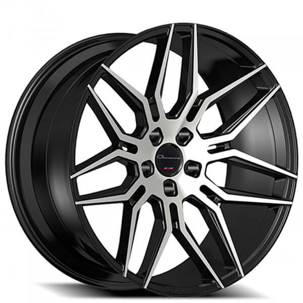 "22"" Staggered Giovanna Wheels Bogota Black Machined Rims"