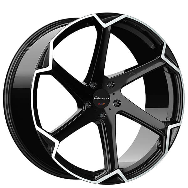 """20"""" Staggered Giovanna Wheels Dalar-X Gloss Black with Machined Face Rims"""