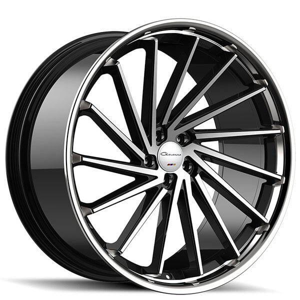 "20"" Staggered Giovanna Wheels Spira FF Diamond Cut Black with Chrome SS Lip Rims"