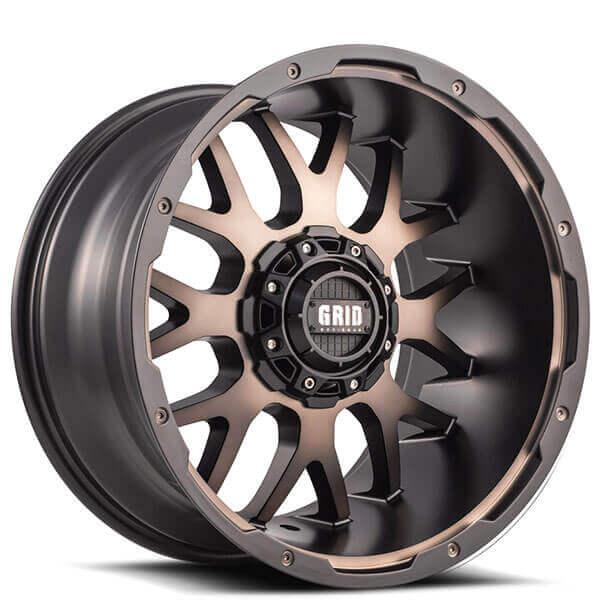 Grid Wheels GD2 Bronze Dark Tint with Matte Black Off-Road Rims