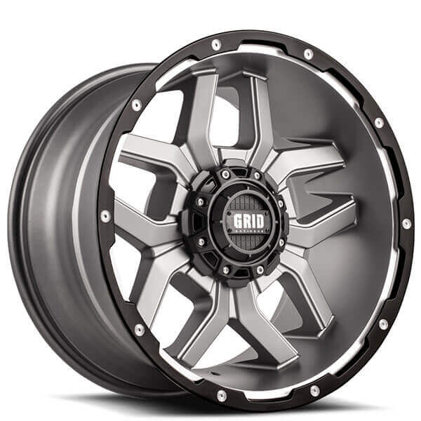 Grid Wheels GD7 Matte Anthracite Milled with Black Lip Off-Road Rims
