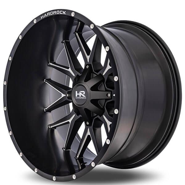 """1991 Gmc Sierra >> 22"""" Hardrock Wheels H700 Affliction Satin Black Milled Off-Road Rims #HDR009-2"""
