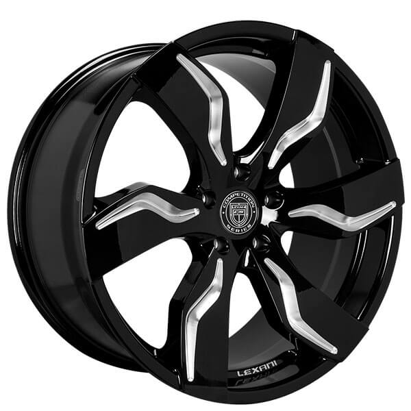 """Gloss Black With Machined Accents Rims: 20/22"""" Staggered Lexani Wheels Zagato Gloss Black With"""