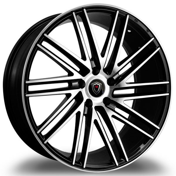"20"" Staggered Marquee Wheels M3307 Black Polished Rims"