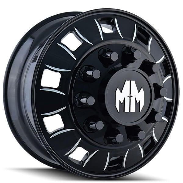 """22"""" Mayhem Wheels 8180 Bigrig Dually Black with Milled ..."""