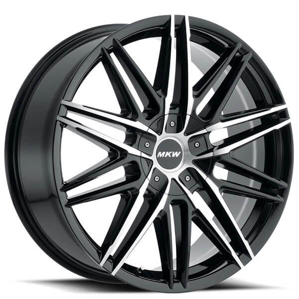 "20"" MKW Wheels M124 Gloss Black Machined Face Rims"