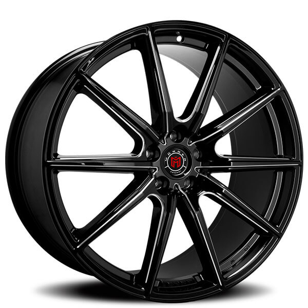 """Gloss Black With Machined Accents Rims: 20"""" Morder Wheels MS-010 Gloss Black With CNC Machined"""