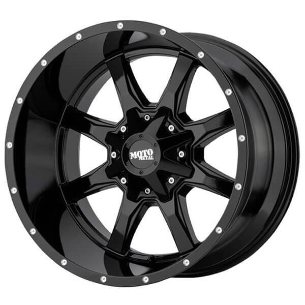 """18"""" Moto Metal Wheels MO970 Gloss Black with Milled Lip Off-Road Rims"""