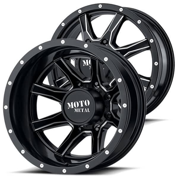 "20"" Moto Metal Wheels MO995 Dually Satin Black Milled Off-Road Rims"