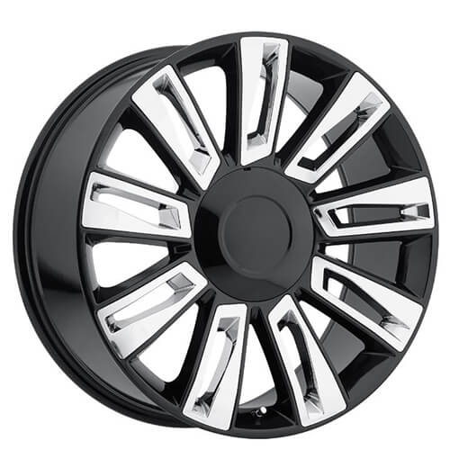 22 Cadillac Escalade Option3 Wheels Black With Chrome Inserts Oem