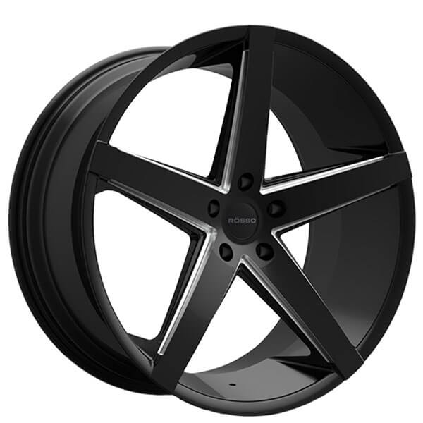 "Paragon Honda Service >> 22"" Staggered Paragon Wheels Rosso Affinity Gloss Black Milled Rims #PG019-4"