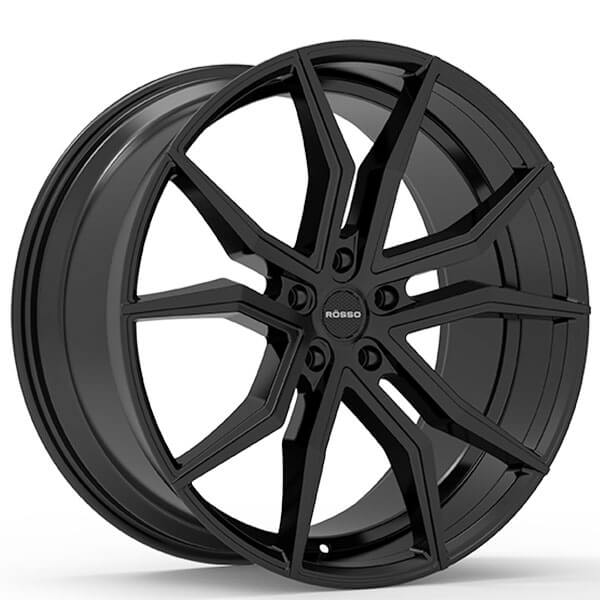 "22"" Staggered Paragon Wheels Rosso Icon Black Rims #PG007-4"