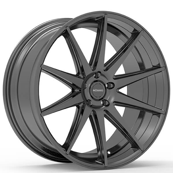 "22"" Staggered Paragon Wheels Rosso Legacy Black Rims #PG024-4"