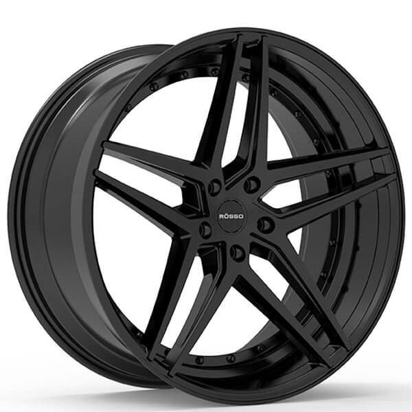 "22"" Staggered Paragon Wheels Rosso Reactiv Black Rims #PG001-4"
