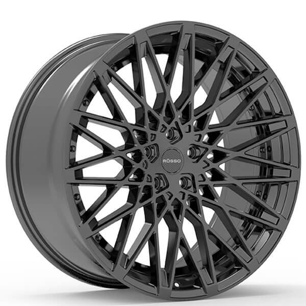 "22"" Staggered Paragon Wheels Rosso Skism Black Rims #PG013-4"