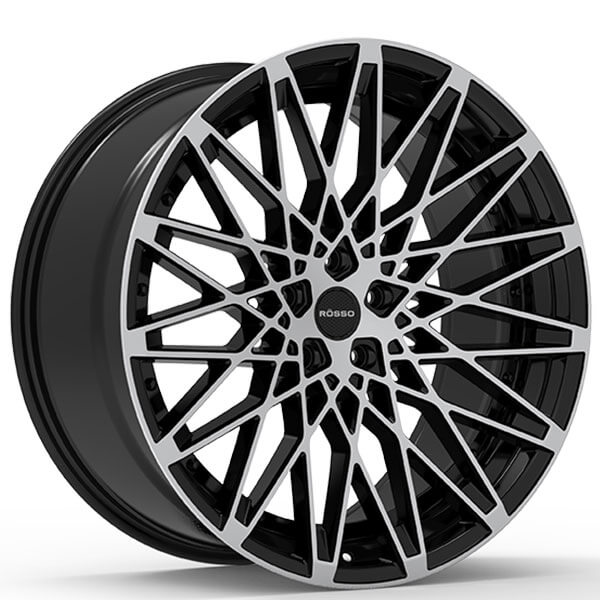 "22"" Staggered Paragon Wheels Rosso Skism Gloss Black"