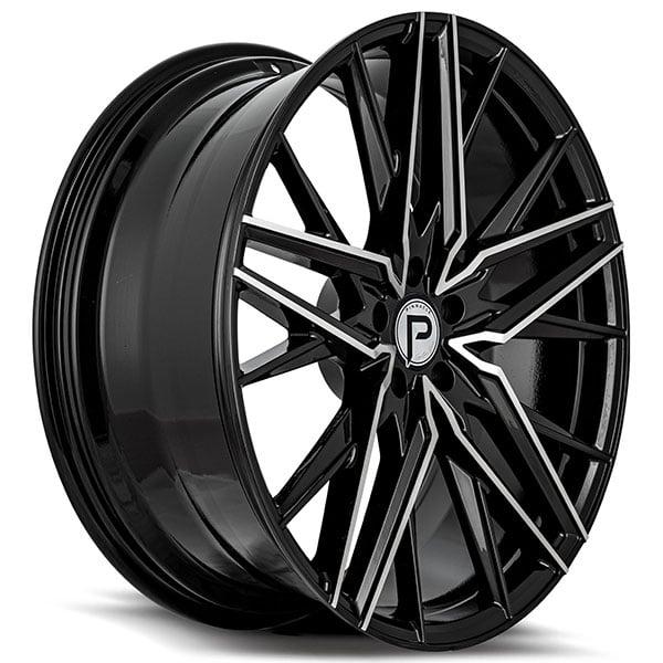 "20"" Pinnacle Wheels P106 Stellar Gloss Black Machined Rims"