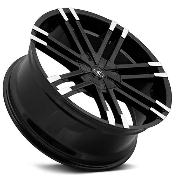 "20"" Pinnacle Wheels P88 Valenti Gloss Black Machined Tip Rims"