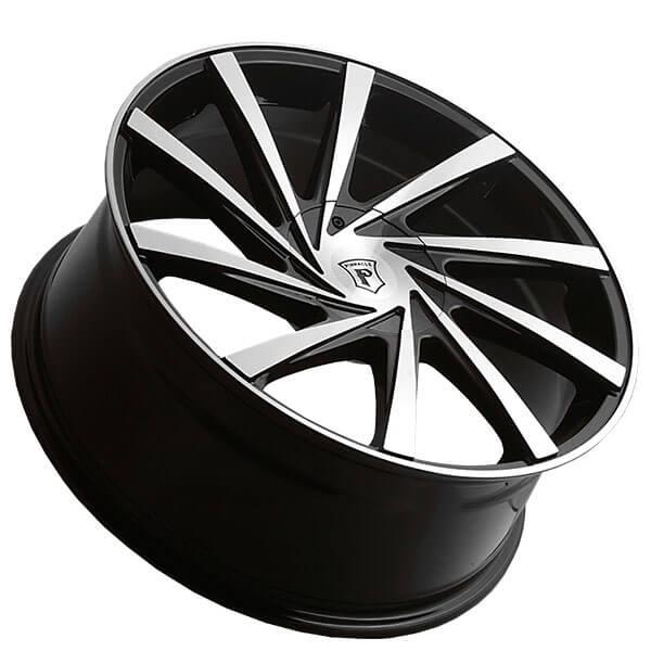 "20"" Pinnacle Wheels P90 Turbina Gloss Black Machined Rims"