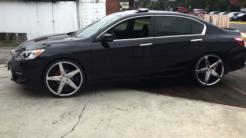 rims chrome wheels rosso affinity accord honda 22 staggered sitting tires audiocityusa