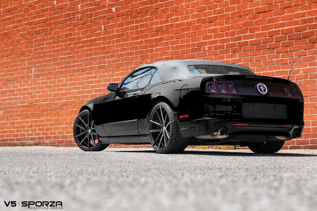 "20"" Staggered Sporza Wheels V5 Satin Black Milled Concave Rims"