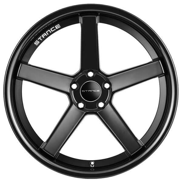 "19"" Stance Wheels SC5 Matte Black With Gloss Black Lip"