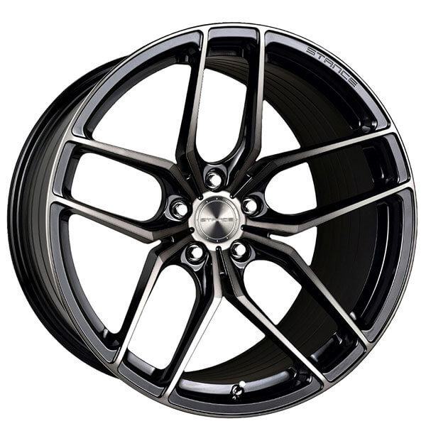 """20"""" Staggered Stance Wheels SF03 Gloss Black Tinted Machined Rims"""