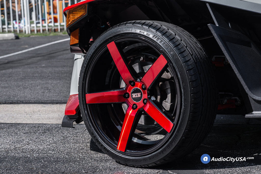 "20"" Staggered STR Wheels 607 Black with Red Spoke Polaris Slingshot Rims"