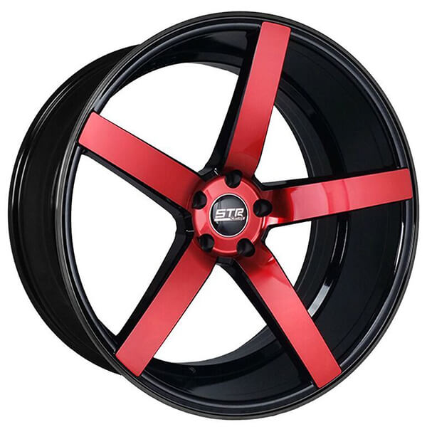 "19"" Staggered STR Wheels 607 Black with Red Spoke Rims"