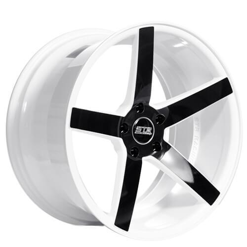 "20"" Staggered STR Wheels 607 White W Black Spoke Rims"