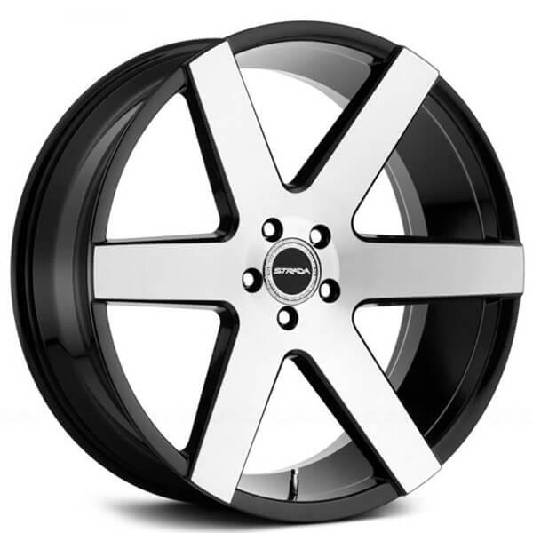 "24"" Strada Wheels Coda Gloss Black Machined Rims #STD018-2"