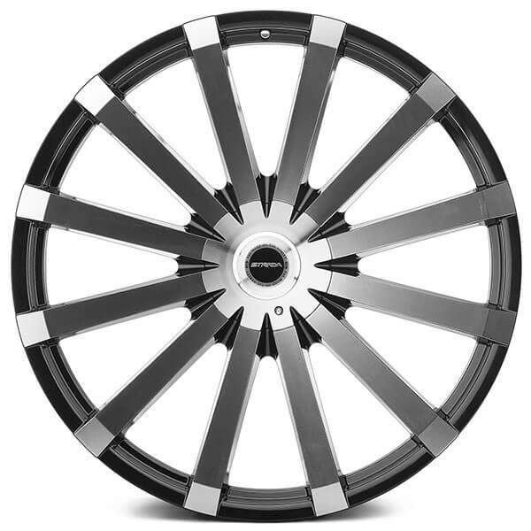 22 Quot Strada Wheels Gabbia Black Machined Rims Std042 4