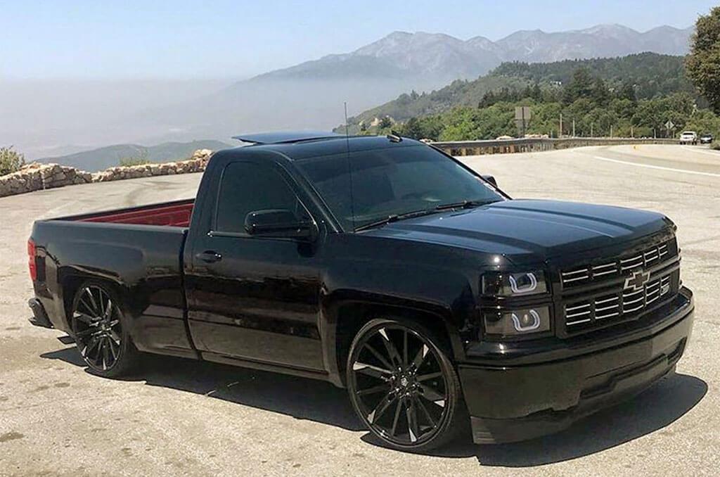 "Silverado Off Road >> 22"" TIS Wheels 545MBT Gloss Black with Machined Spoke Tips Rims #TIS005-1"