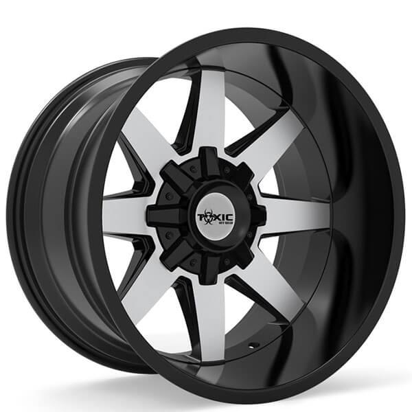 toxic  road wheels widow gloss black machined  black lip rims tox