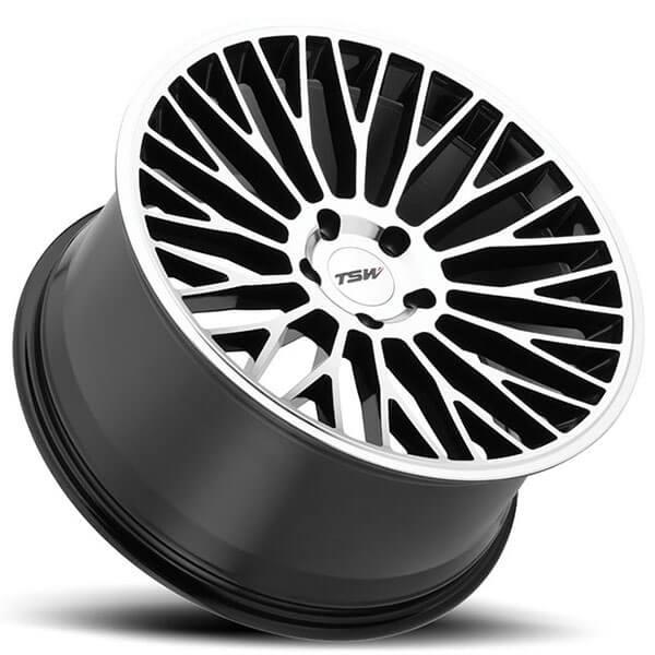 tsw wheels casino gloss black  mirror cut face rims tsw