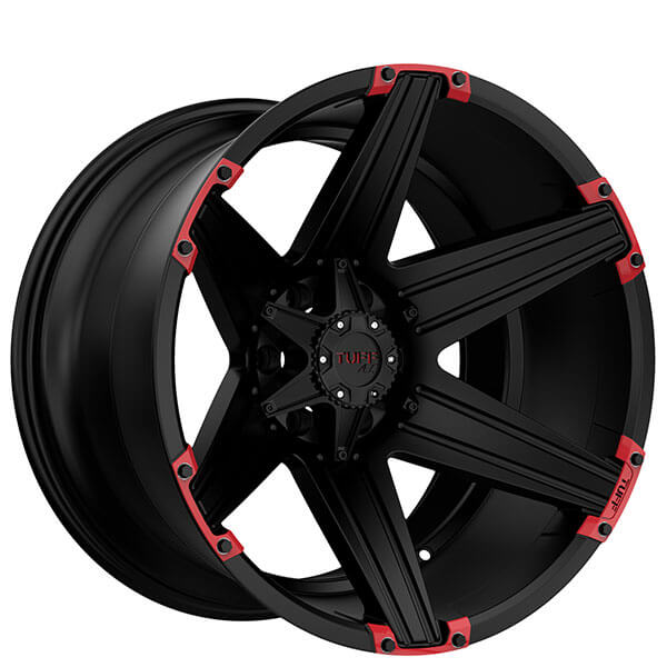 """22"""" Tuff Wheels T12 Satin Black with Red Inserts Off-Road Rims"""